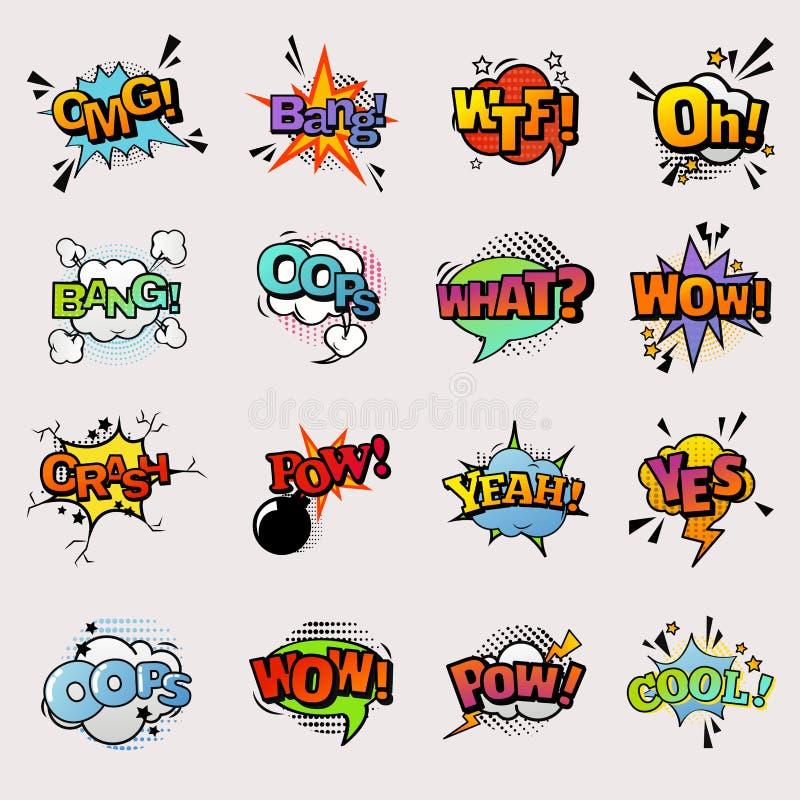 Vektorspracheblasen popart Art der Pop-Art komische Comicsformen des Ausdrucks des Humors in den sprudelnden asrtistic lokalisier vektor abbildung