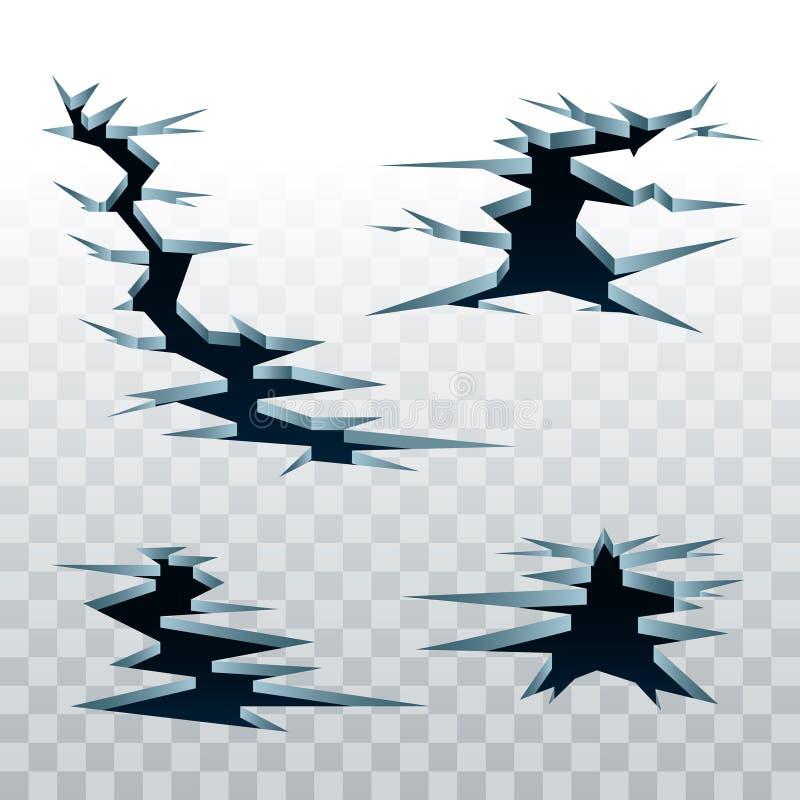Vektorspricka i jordsymbolsuppsättning stock illustrationer