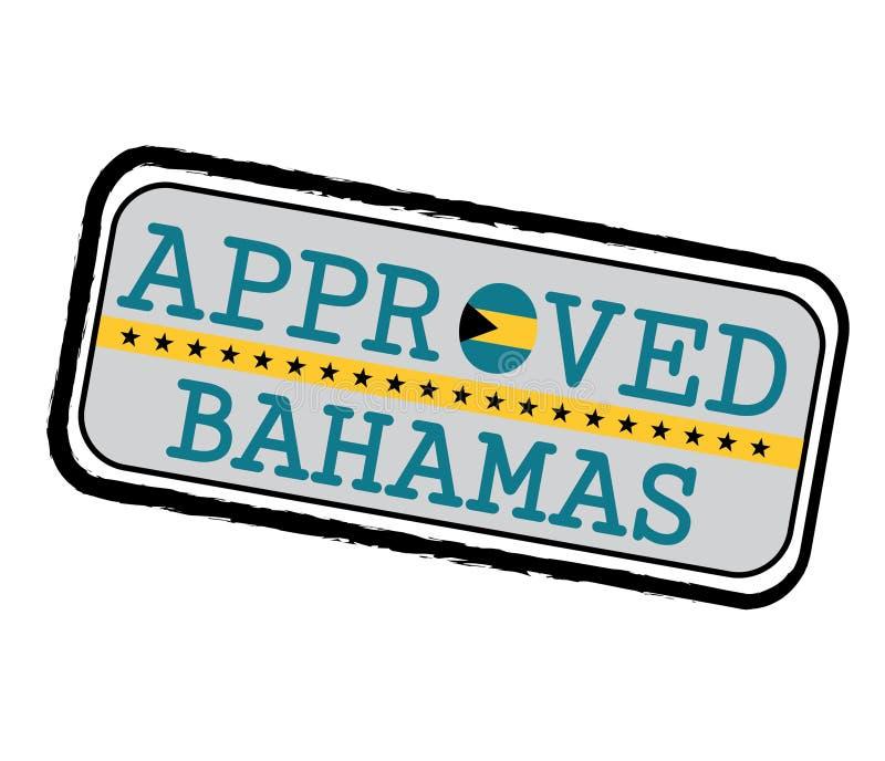 Vektorstämpel av Approved logoen med den Bahamas flaggan i formen av nollan och text Bahamas royaltyfri illustrationer