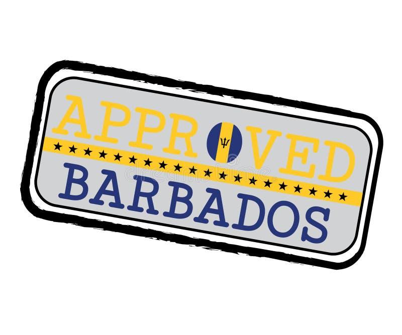Vektorstämpel av Approved logoen med den Barbados flaggan i formen av nollan och text Barbados stock illustrationer