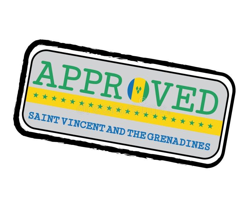 Vektorstämpel av Approved logoen med helgonet Vincent Flag i formen av nollan och text Saint Vincent och Grenadinerna stock illustrationer