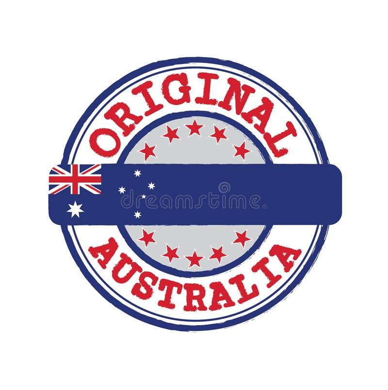 Vektorstämpel av den original- logoen med text Australien och band i mitt med nationflaggan stock illustrationer
