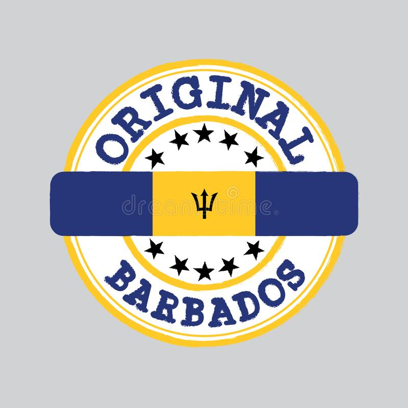 Vektorstämpel av den original- logoen med text Barbados och band i mitt med nationflaggan royaltyfri illustrationer