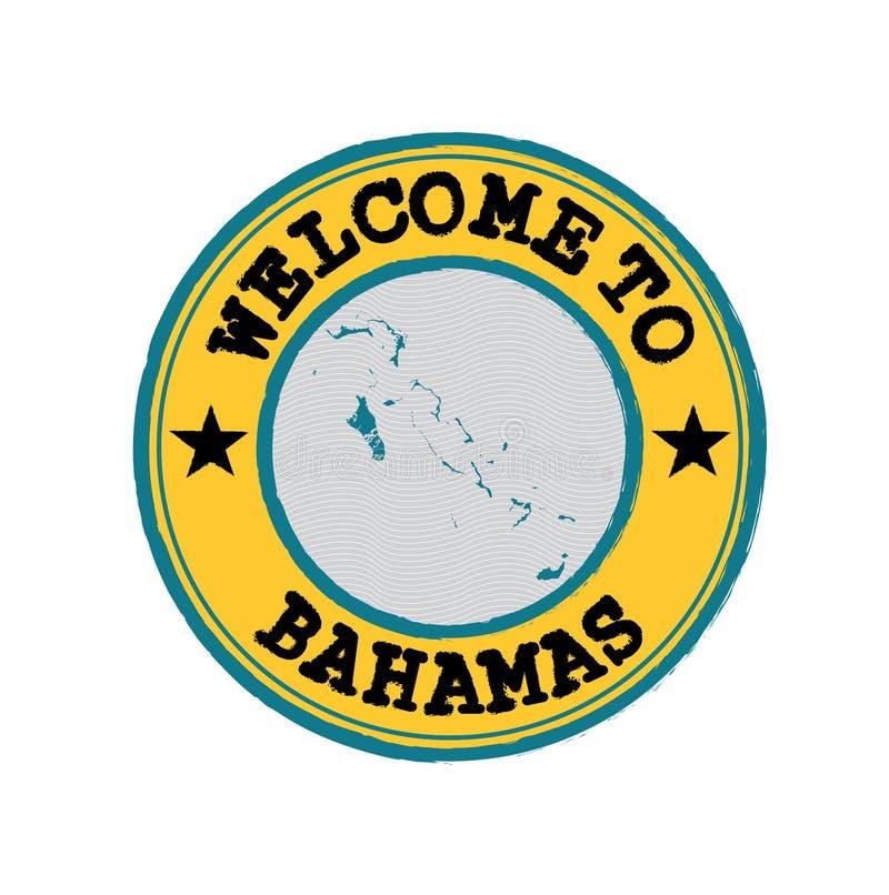 Vektorstämpel av välkomnandet till Bahamas med översiktsöversikten av nationen i mitt royaltyfri illustrationer