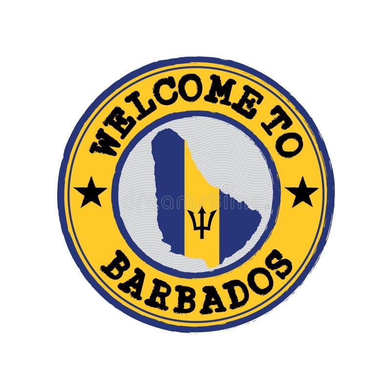 Vektorstämpel av välkomnandet till Barbados med översiktsöversikten av nationen i mitt royaltyfri illustrationer