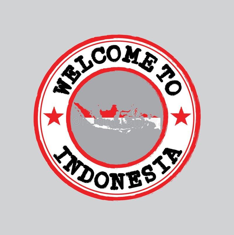Vektorstämpel av välkomnandet till Indonesien med nationflaggan på översiktsöversikt i mitten vektor illustrationer