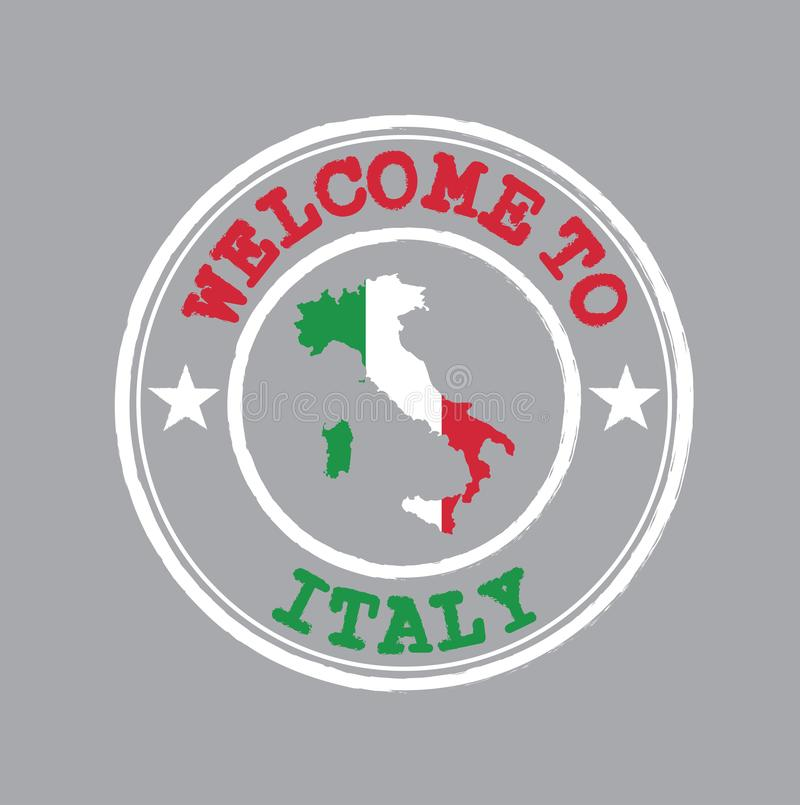 Vektorstämpel av välkomnandet till Italien med den italienska flaggan på översiktsöversikt i mitten royaltyfri illustrationer