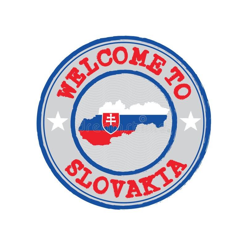 Vektorstämpel av välkomnandet till Slovakien med översiktsöversikten av nationen i mitt stock illustrationer