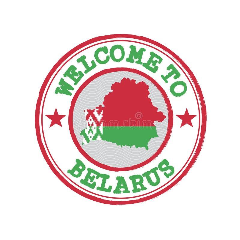 Vektorstämpel av välkomnandet till Vitryssland med översiktsöversikten av nationen i mitt vektor illustrationer