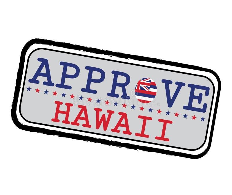 Vektorstämpel för Approve logoen med den Hawaii flaggan i formen av nollan och text Hawaii vektor illustrationer