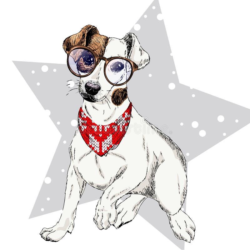 Vektorstående av bandanaen och exponeringsglas för vinter för hund för stålarrussel terrier den bärande Isolerat på stjärnasnö Sk stock illustrationer