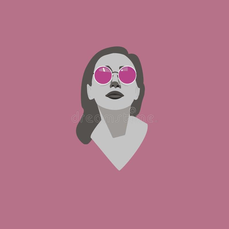 Vektorstående av den härliga unga kvinnan i rosa solglasögon vektor illustrationer