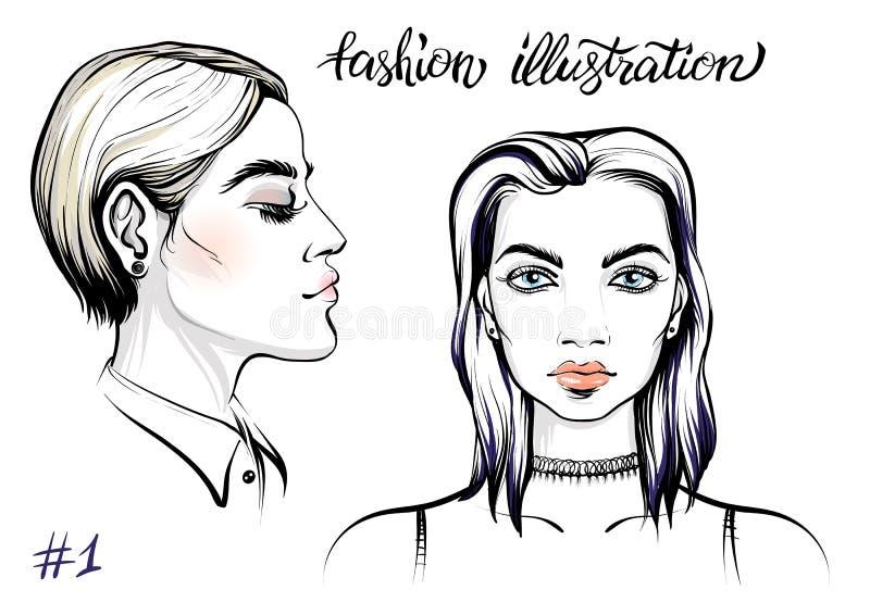 Vektorstående av kvinnan, modeillustration vektor illustrationer