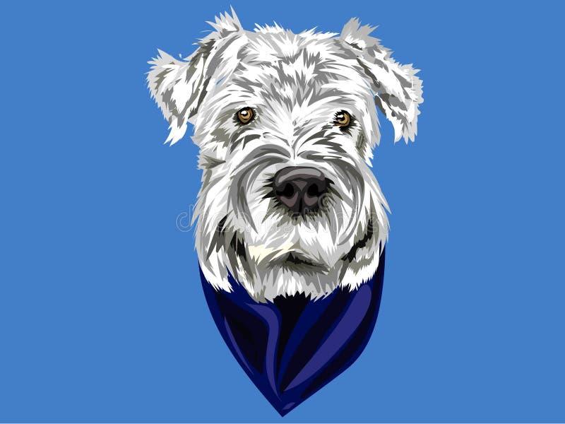 Vektorståenden av den vita hunden med grå färger och en bandana på blå bakgrund i vektor, gör perfekt som symbol eller som bakgru vektor illustrationer
