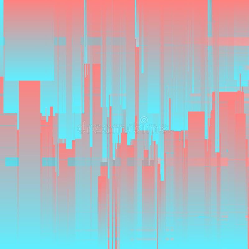 Vektorstörschubhintergrund Futuristische Stadt, abstrakte Wolkenkratzer Digitalbilddatenverzerrung stock abbildung