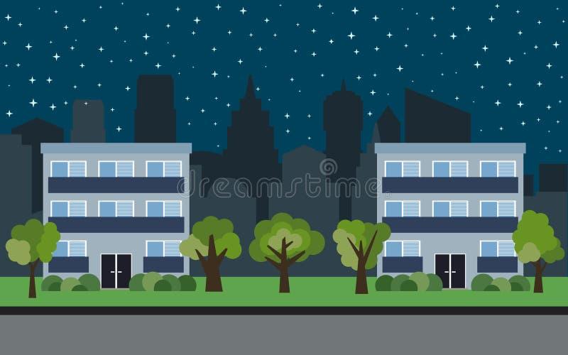 Vektorstad med två tre-berättelse tecknad filmhus och gröna träd på natten stock illustrationer