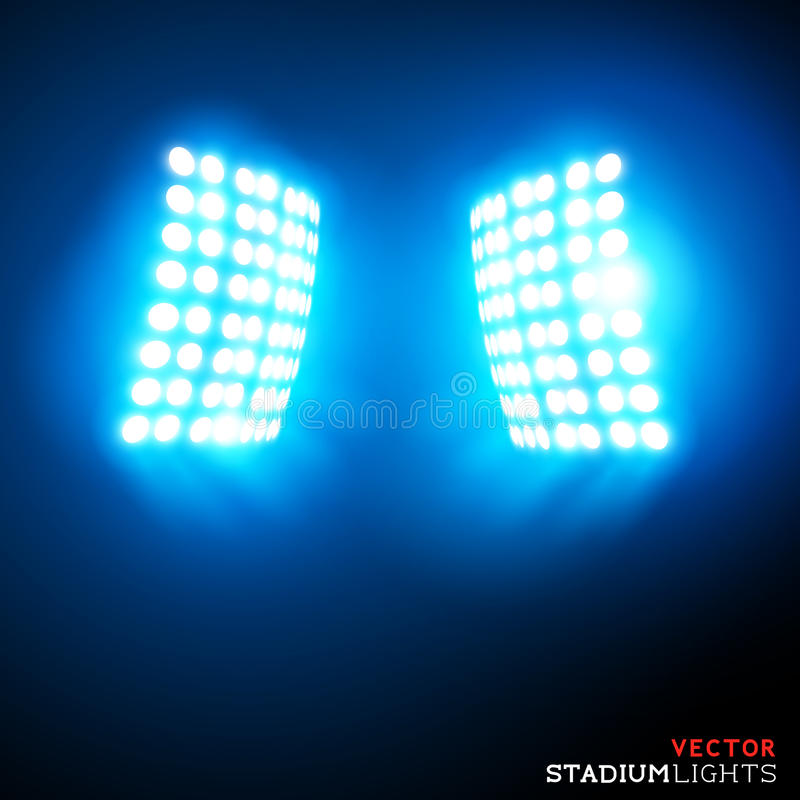 Vektorstadionflodljus royaltyfri illustrationer