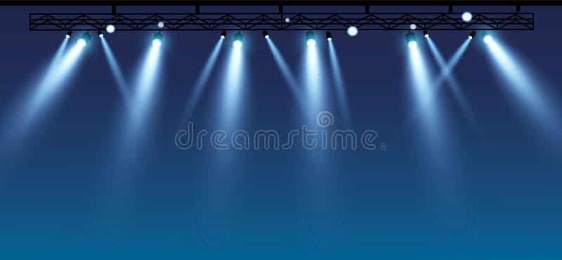 Vektorstadium mit Satz blauen Scheinwerfern Blaue Stadiums-Lichter 10 besonders lizenzfreie abbildung