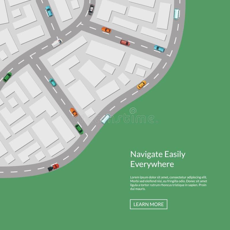 Vektorstadsöversikt med flyg- bästa sikt för bilar från ovannämnd illustration stock illustrationer