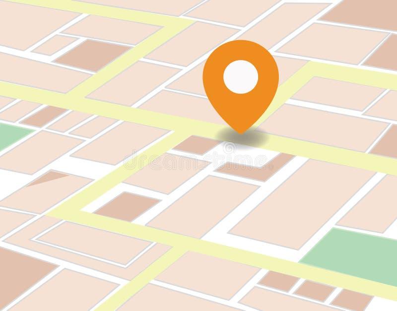 Vektorstadsöversikt med GPS symbolsillustrationen vektor illustrationer