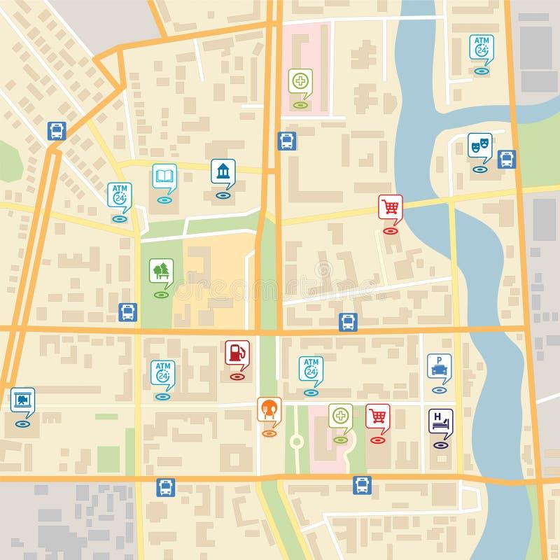 Vektorstadsöversikt med stiftlägepekare royaltyfri illustrationer