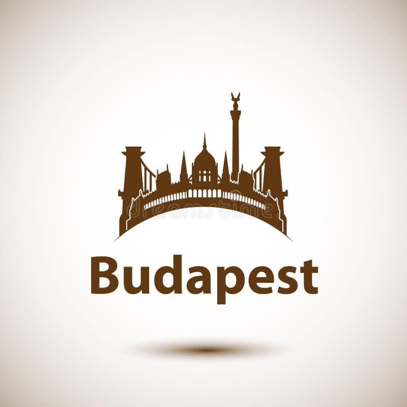 Vektorstadshorisont med den gränsmärkeBudapest Ungern vektor illustrationer