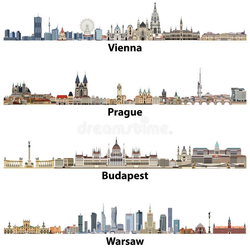 Download Vektorstadshorisonter Av Wien, Prague, Budapest Och Warszawa Vektor Illustrationer - Illustration av europa, huvud: 106830751