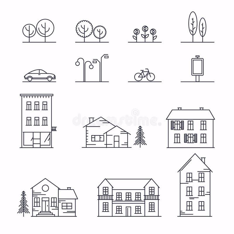 Vektorstadsillustration i linjär stil Symboler och illustrationer med byggnader, hus och arkitekturtecken Ideal för royaltyfri illustrationer