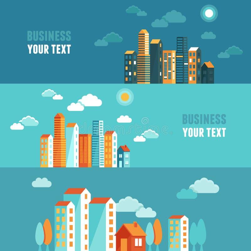 Vektorstadsillustration i plan enkel stil stock illustrationer