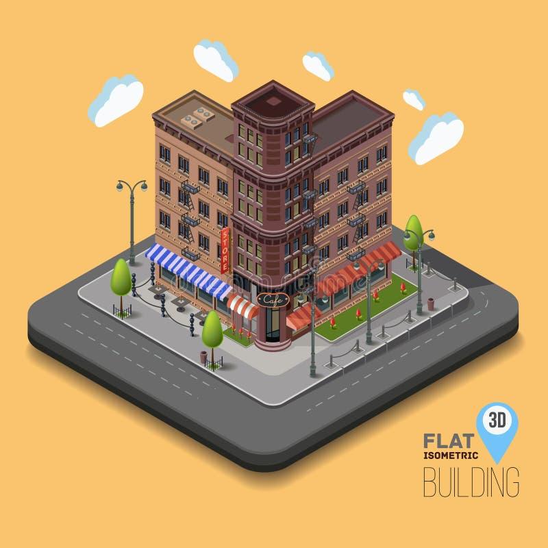 Vektorstadt mit isometrischen Altbauten und Cafés stock abbildung