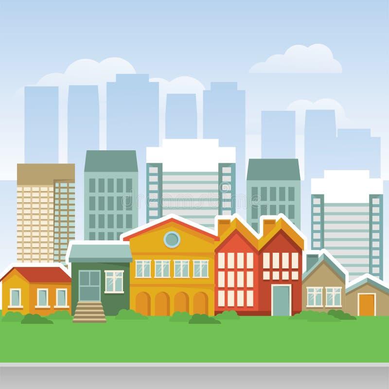 Vektorstadt mit Karikatur Häusern und buidings stock abbildung