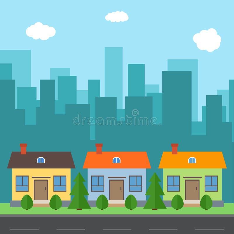 Vektorstadt mit Karikaturhäusern und -gebäuden stock abbildung