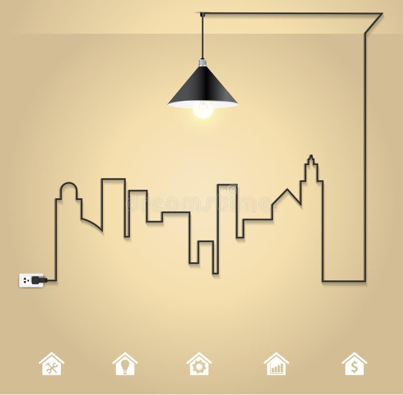 Vektorstadtbild mit Glühlampe des kreativen Drahtes lizenzfreie abbildung