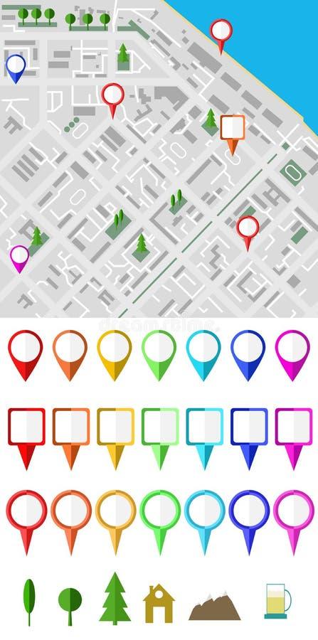 Vektorstadtplan-Illustrationsenthalten vektor abbildung
