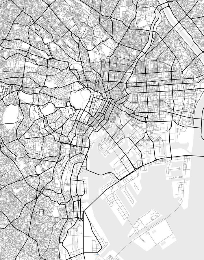 Vektorstadtplan von Tokyo in Schwarzweiss lizenzfreie abbildung
