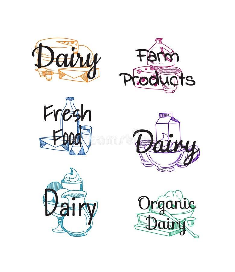 Vektorstapel von Milchprodukten stock abbildung