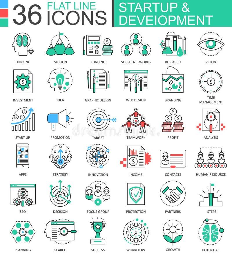 Vektorstarten och för färglägenhet för utveckling den moderna linjen skisserar symboler för apps och rengöringsdukdesign stock illustrationer