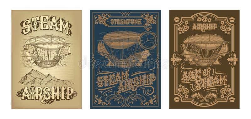 Vektorsteampunkaffischer med fantastiskt träflyg sänder stock illustrationer