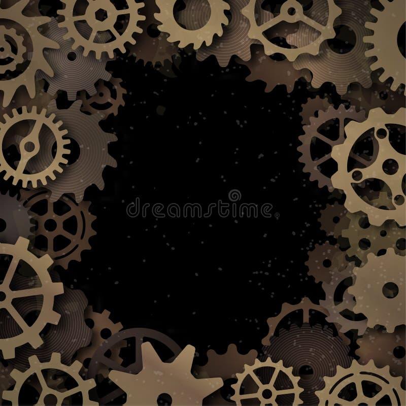 Vektorsteampunkram med metalliska kugghjul, realistisk skugga royaltyfri illustrationer