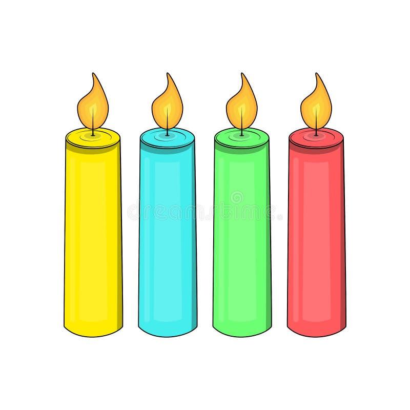 Vektorstearinljus Fyra färgvariationer royaltyfri illustrationer