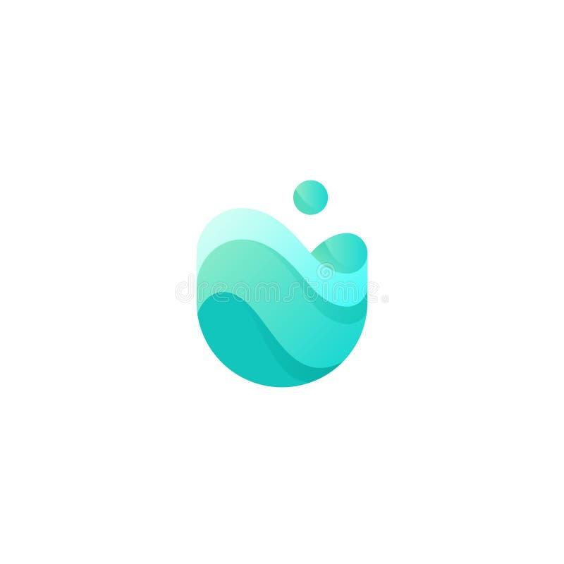 Vektorsteigungslogo der Wasserwelle Konzept der alternativen Energie Firmenzeichen des klaren Wassers vektor abbildung