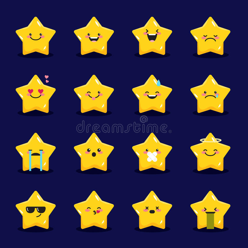 Vektorstern Emoticonssammlung Netter emoji Satz stock abbildung