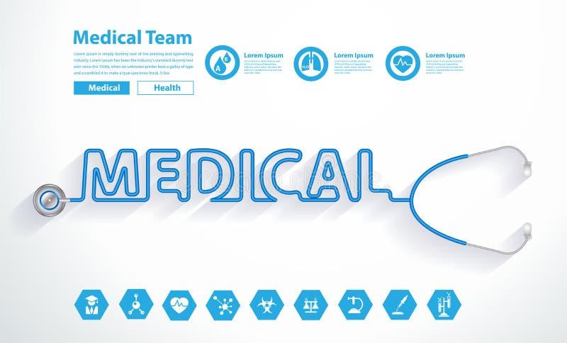 Vektorstetoskophjärta med idérik medicinsk textdesign royaltyfri illustrationer
