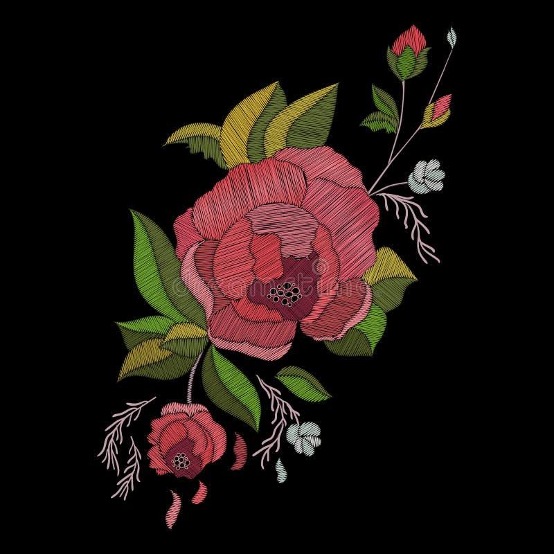 Vektorstickereidesign Gesticktes Blumenmuster mit Rosen und sprießt stock abbildung