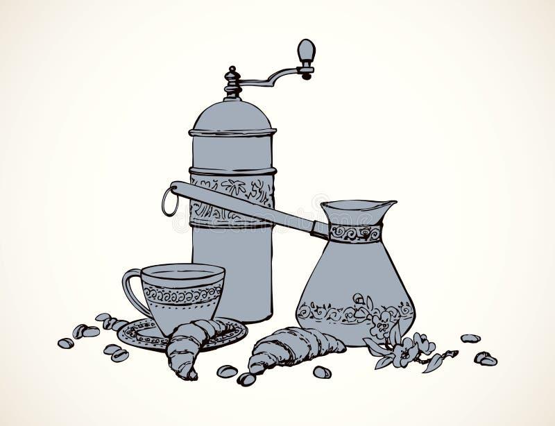 Vektorstilleben av smaksatt kaffe stock illustrationer