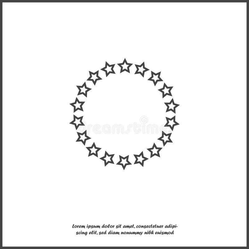 Vektorstjärnasymbol i en cirkel Cirkel som består av stjärnor på vit isolerad bakgrund vektor illustrationer