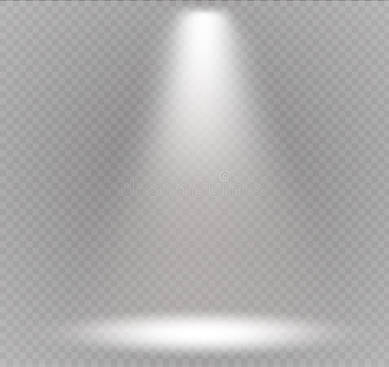 Vektorstrålkastare Ljus effekt Platsbelysning, genomskinliga effekter på en plädmörkerbakgrund vektor illustrationer