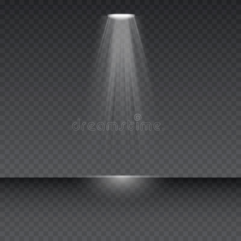 Vektorstrålkastare Ljus signalljusspecialeffekt med strålar av ljus och magi mousserar stock illustrationer