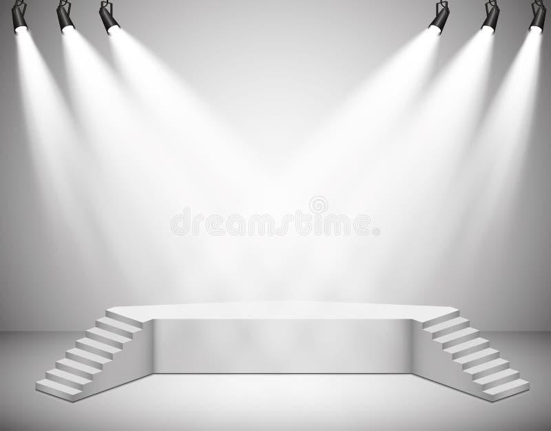Vektorstrålkastare plats Podium för ljusa effekter lampa stock illustrationer