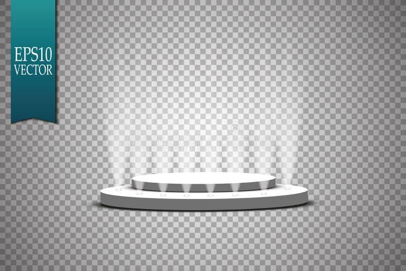 Vektorstrålkastare plats Podium för ljusa effekter lampa vektor illustrationer